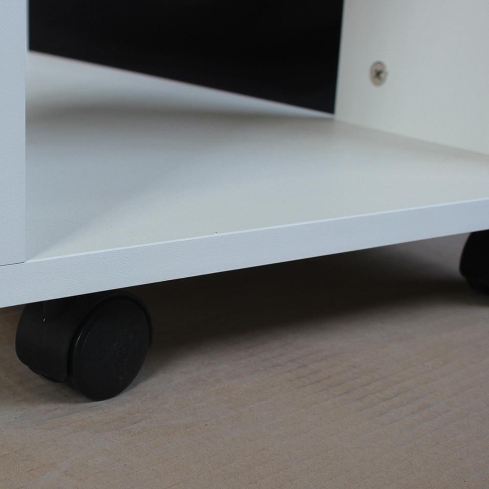طاولة جانبية متحركة موديل ستيلو خشب أبيض2 وحدة تخزين و3 أرفف و4 بعجلات