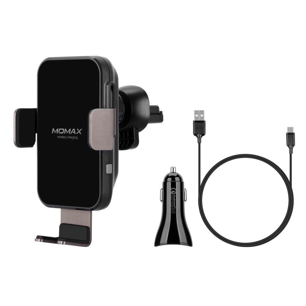 MOMAX Wireless Charging Car Air Vent Mount Holder Plus Car Charger