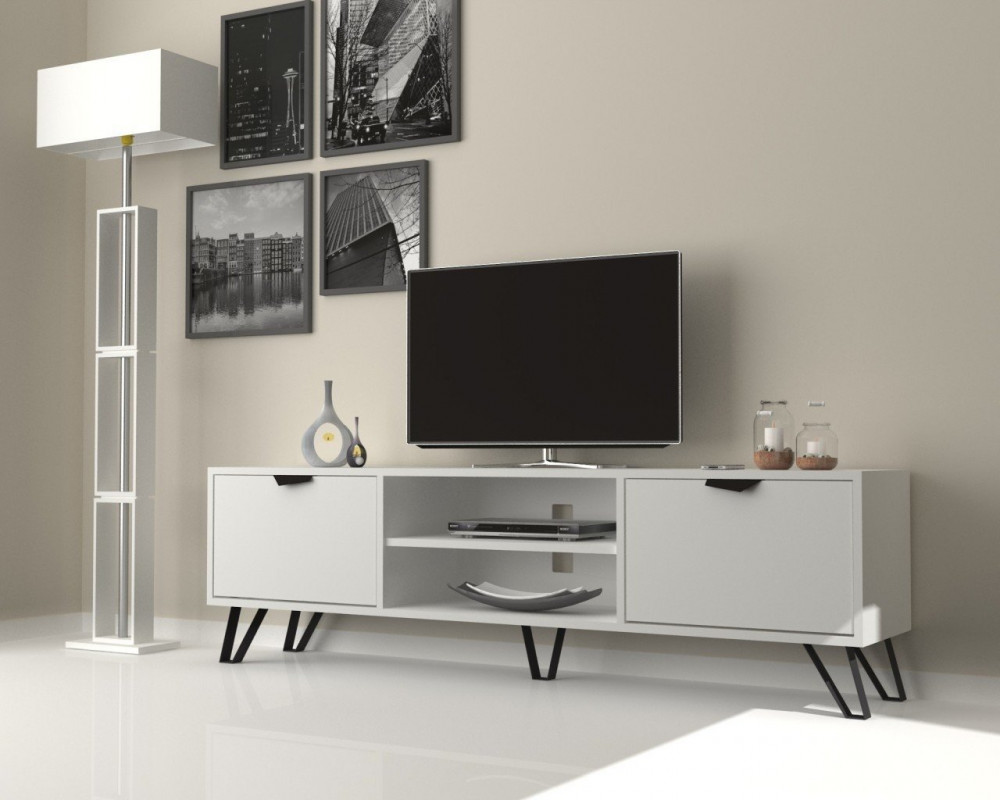تجارة بلا حدود طاولة تلفاز عملية بوحدتين تخزين لون أبيض مع أسود