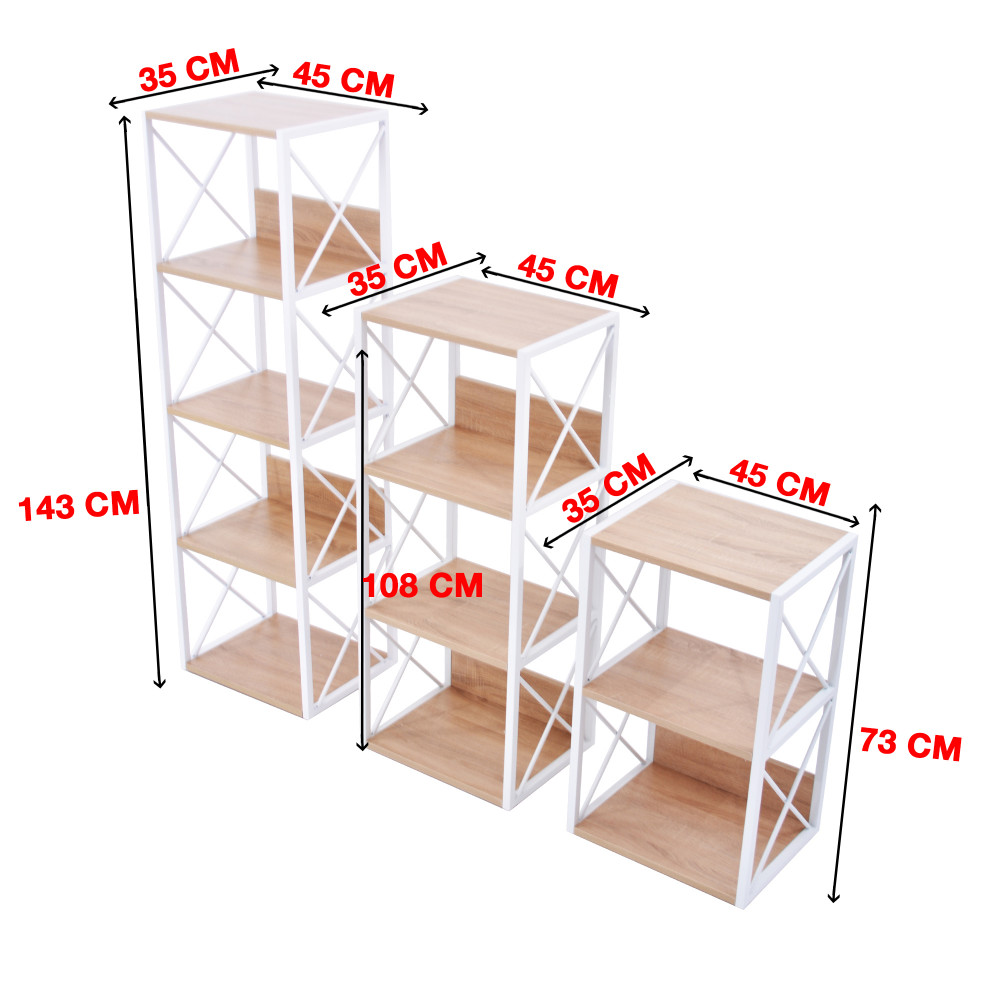 رف متعدد الاستخدام 9808 ابيض خشبي
