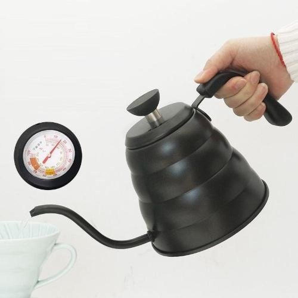 ابريق تقطير اسود سعة 1200 مل مع مقياس حرارة متجر كوفي كلاود محامص قهوة