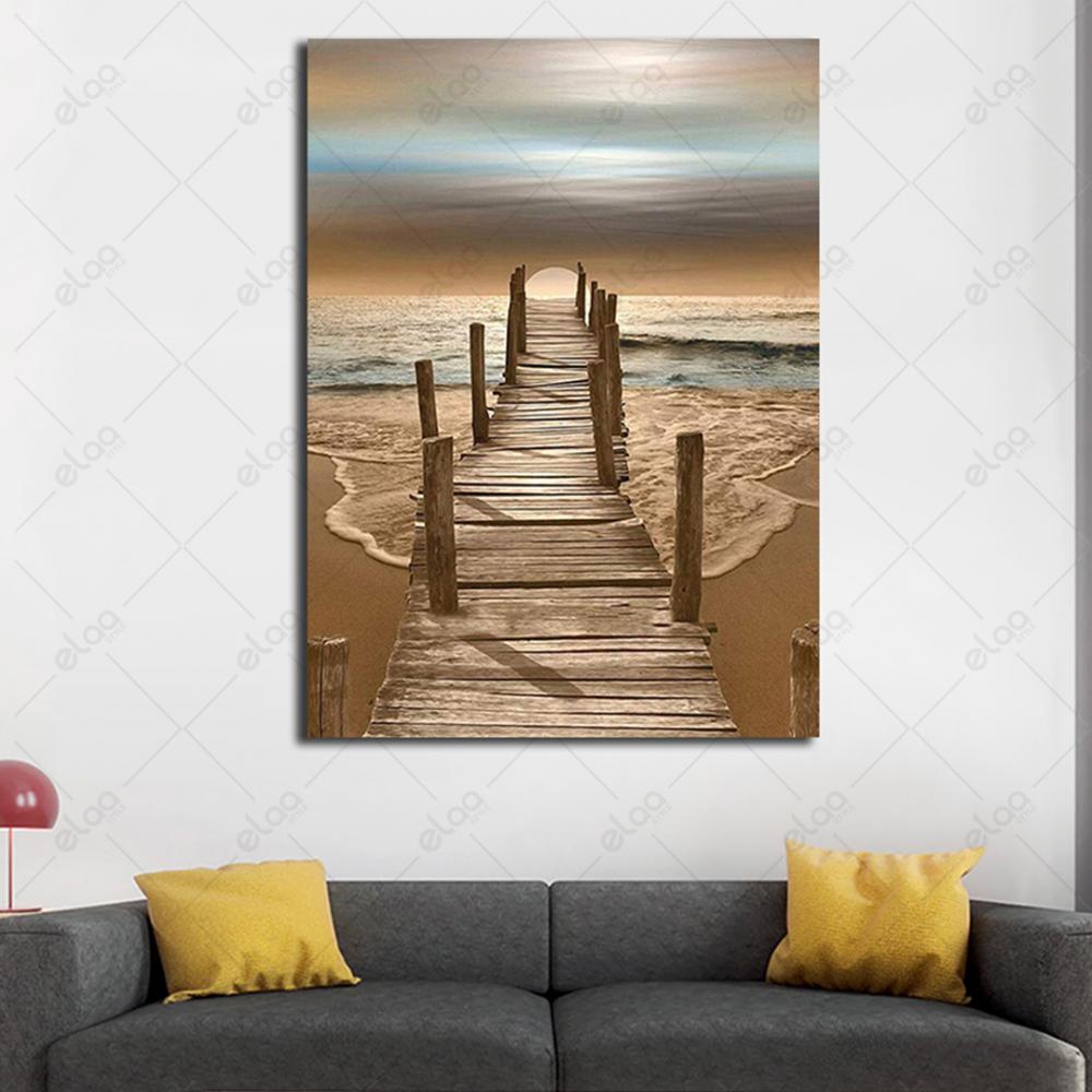 لوحة فنية منظر طبيعي لبحر وسقالة