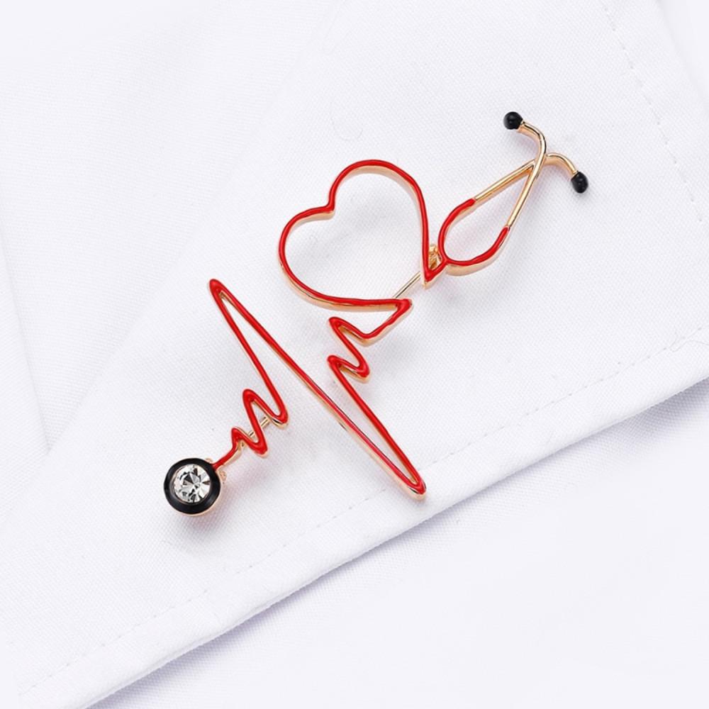 بروش سماعة طبية بلون ذهبي اكسسوارات طبية لاب كوت كلية الطب تخطيط قلب