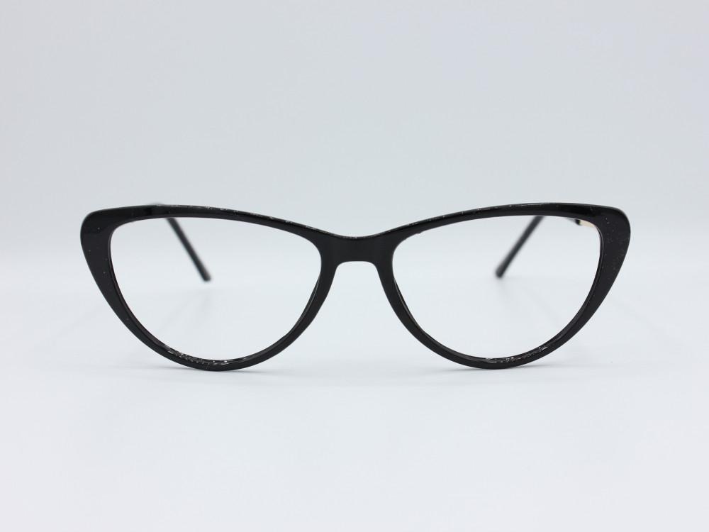 نظارة طبية نسائيه من ماركة T بيضاوي مع عدسات بحماية لون الاطار اسود و