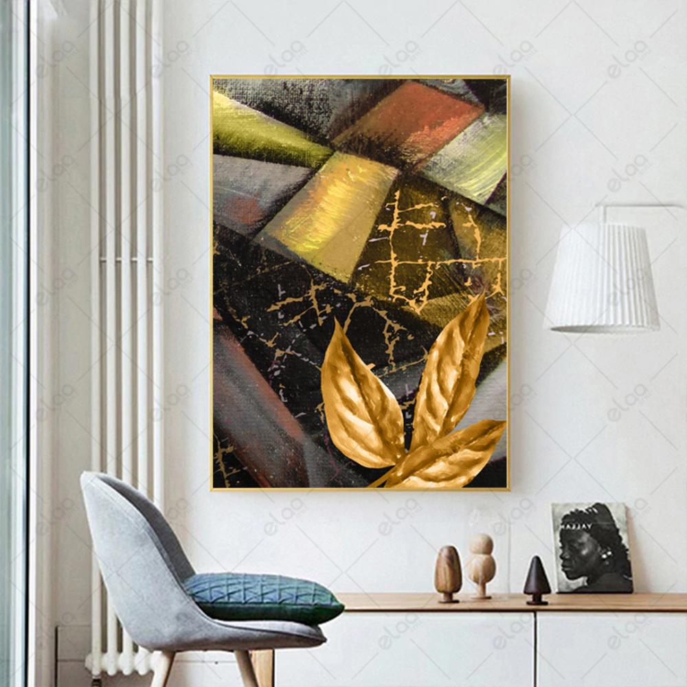 لوحة فن تجريدي ذهبي ومجموعة الوان