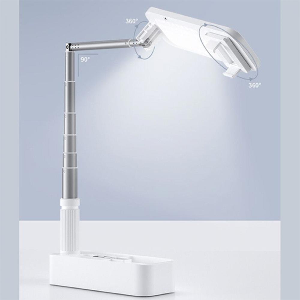 حامل هاتف قابل للطي بإضاءة LED - أبيض Foldable mobile holder with ligh