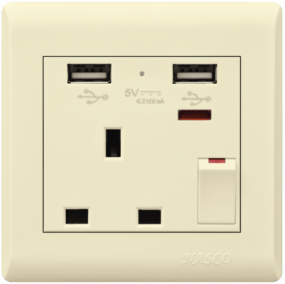 فيش مع مفتاح مع لمبة بيان - يو اس بي - ناسكو - Switched Socket