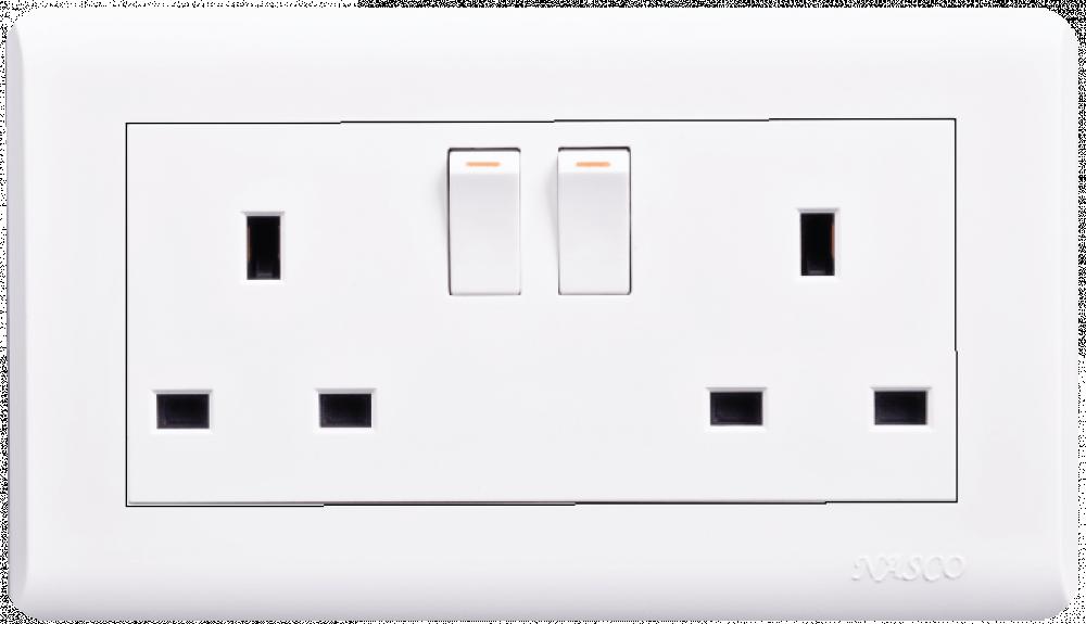فيش مع مفتاح - مزدوج - 7X14 - ناسكو - Switched Socket