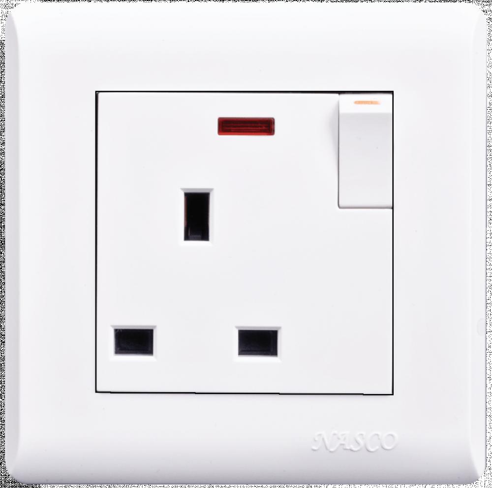 فيش مع مفتاح مع لمبة بيان - ناسكو - Switched Socket