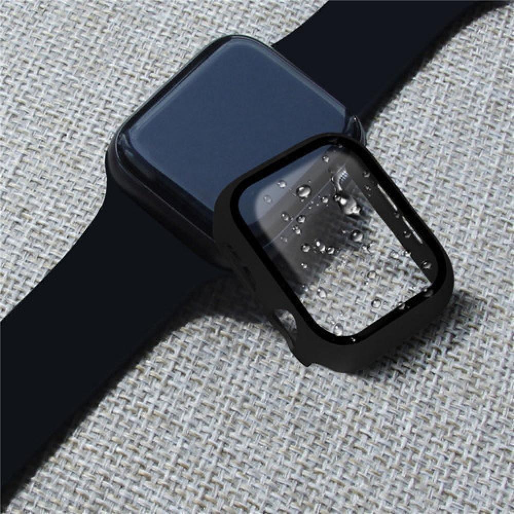 كفر حماية ساعة أبل مقاس 44 من البلاستيك المقوى مع طبقة حماية مدمجة للش