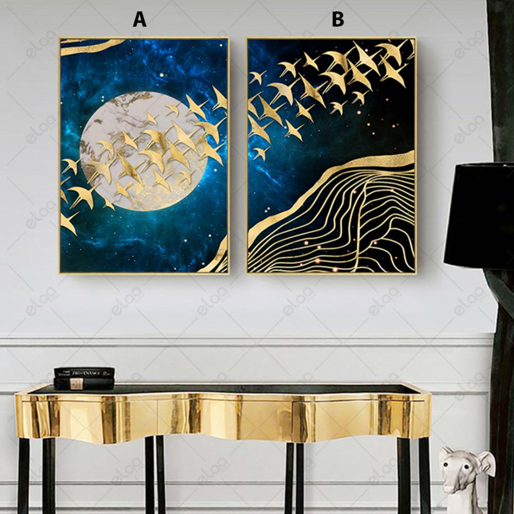 لوحات فن تجريدي لطيور مهاجرة باللون الذهبي وخلفية درجات اللون الازرق ا
