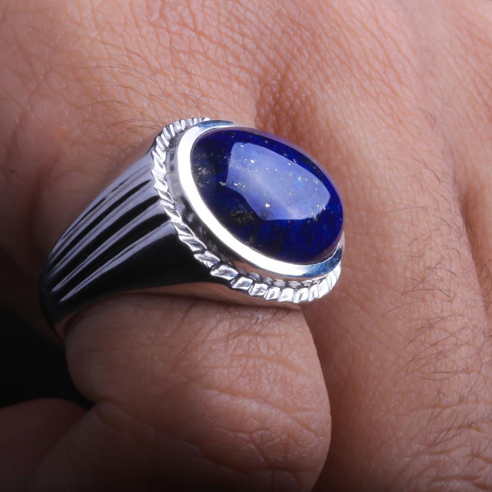 خاتم من حجر اللابيس الطبيعي
