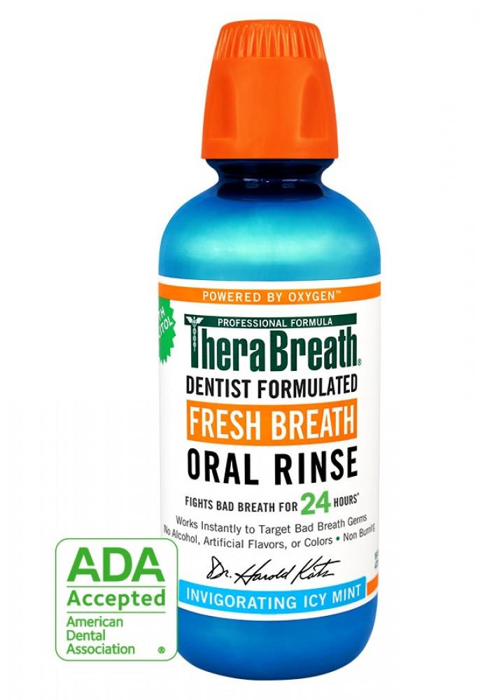 TheraBreathغسول الفم بالنعناع المثلج 473مل افضل غسول فم لإزالة الروائح