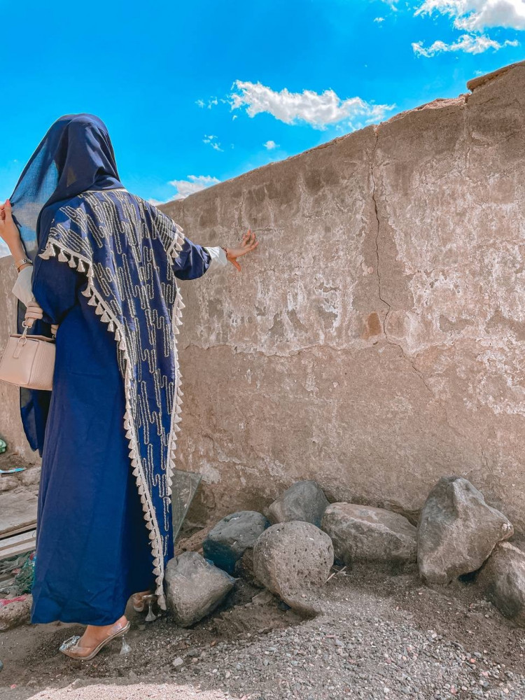شراء عبايات باللون الازرق - قماش بحريني - متجر ميم عباية