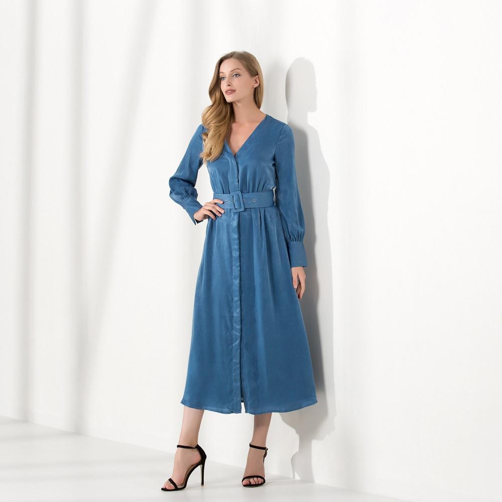 فستان ازرق كم طويل - ABANOS