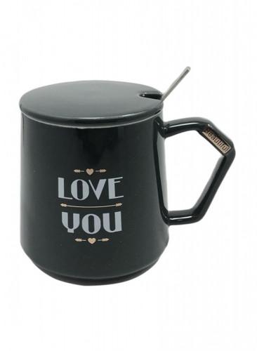 كوب سيراميك للقهوة و الشاي مع ملعقة  و غطاء أسود 13 × 10 × 10 سنتيمتر