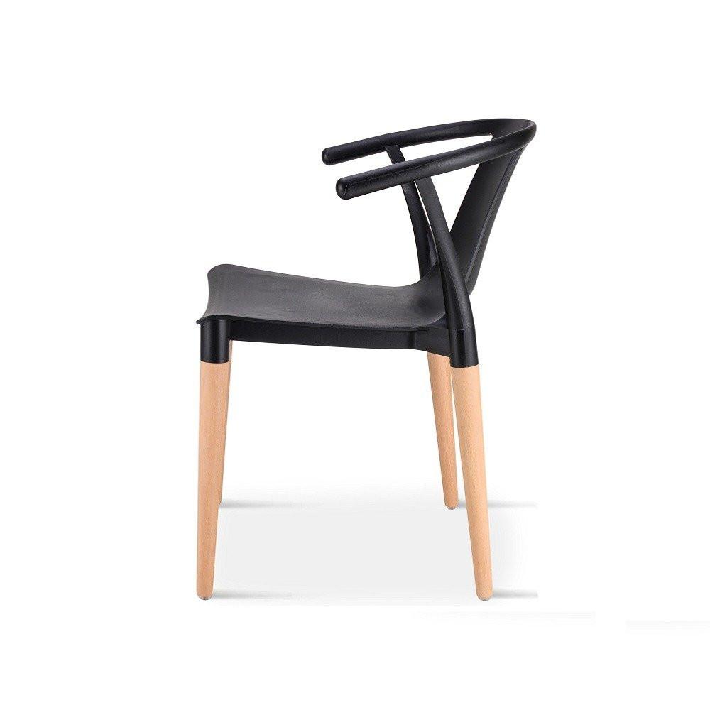 زاوية جانبية من كرسي أنيق في مواسم طقم كراسي أسود ماركة نيت هوم