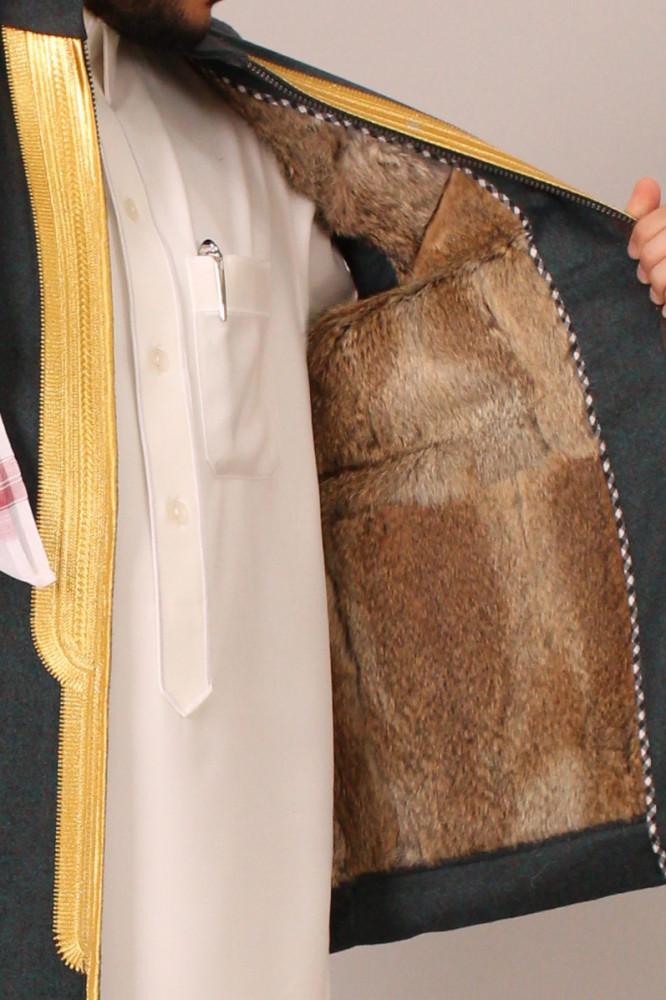 صديري قماش كشميري فرو ارنب طبيعي نقش زري ملكي