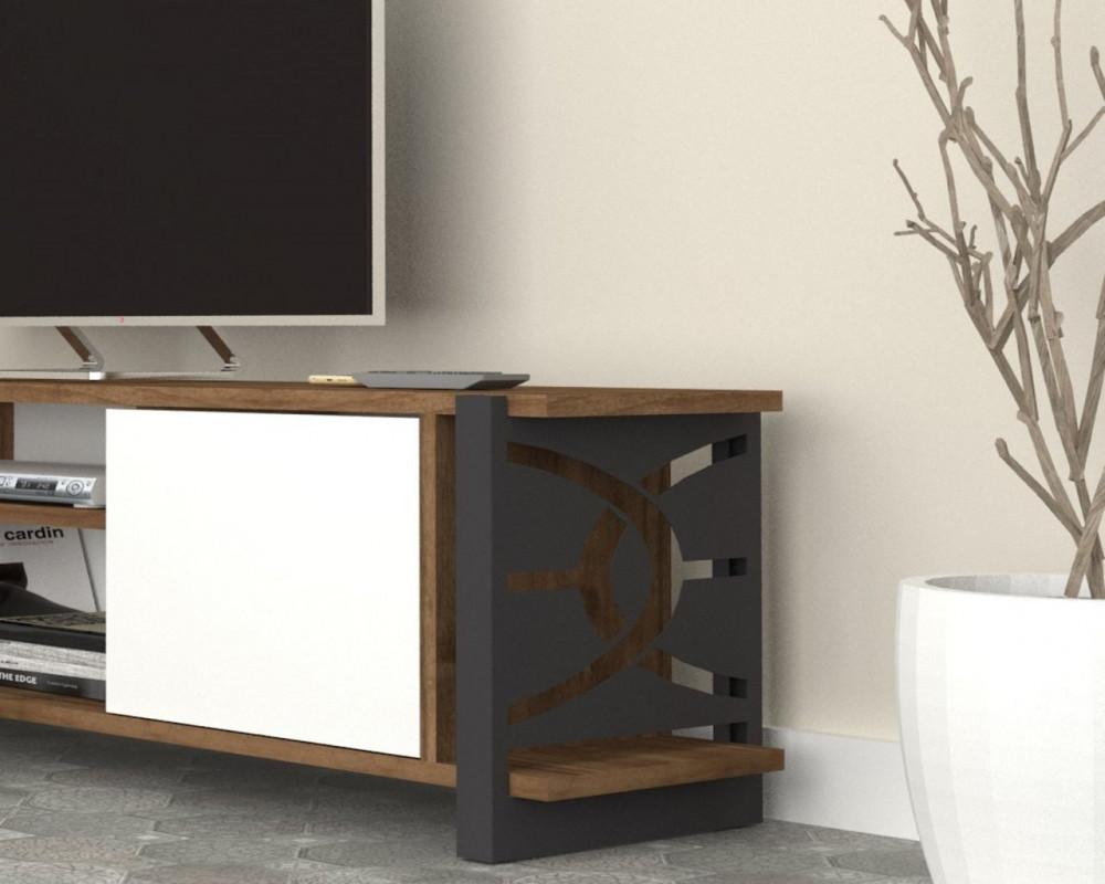 مواسم طاولة تلفاز بالألوان العصرية برفوف إضافة إلى وحدتين تخزين