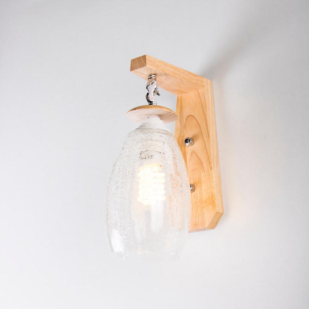 اضاءة جدار خشبية مفرد مع زجاج مزخرف معلق - فانوس