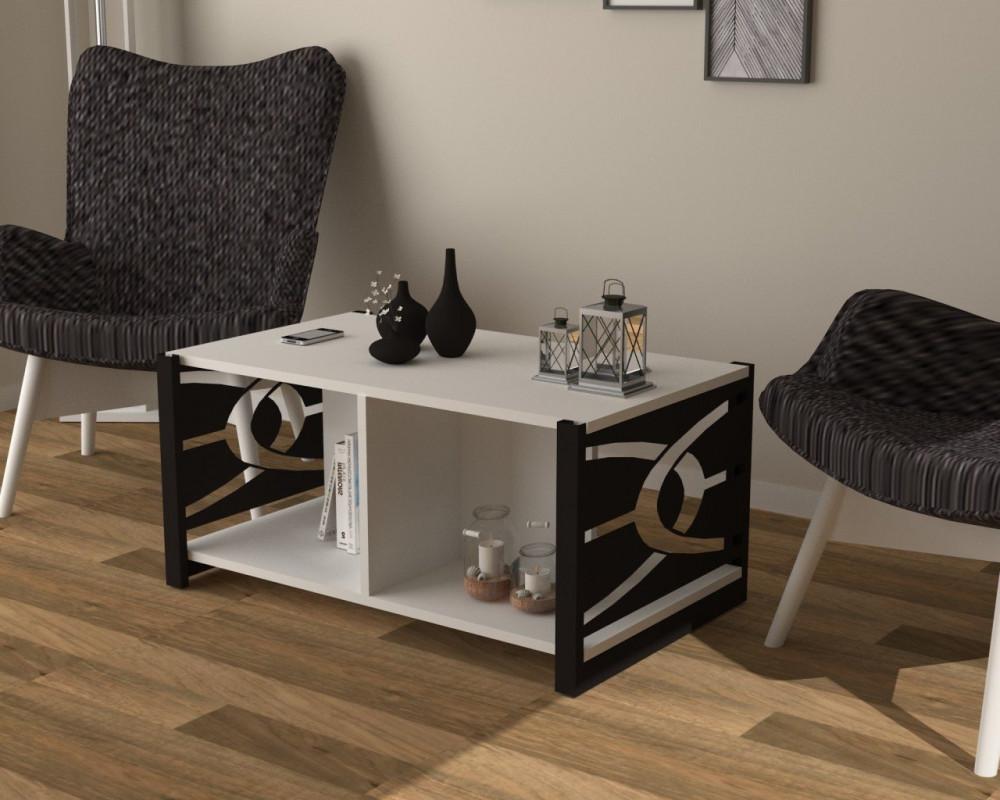 مواسم طاولة بيضاء بأرجل سوداء مصنوعة من الخشب والمعدن مغطاة بالميلامين