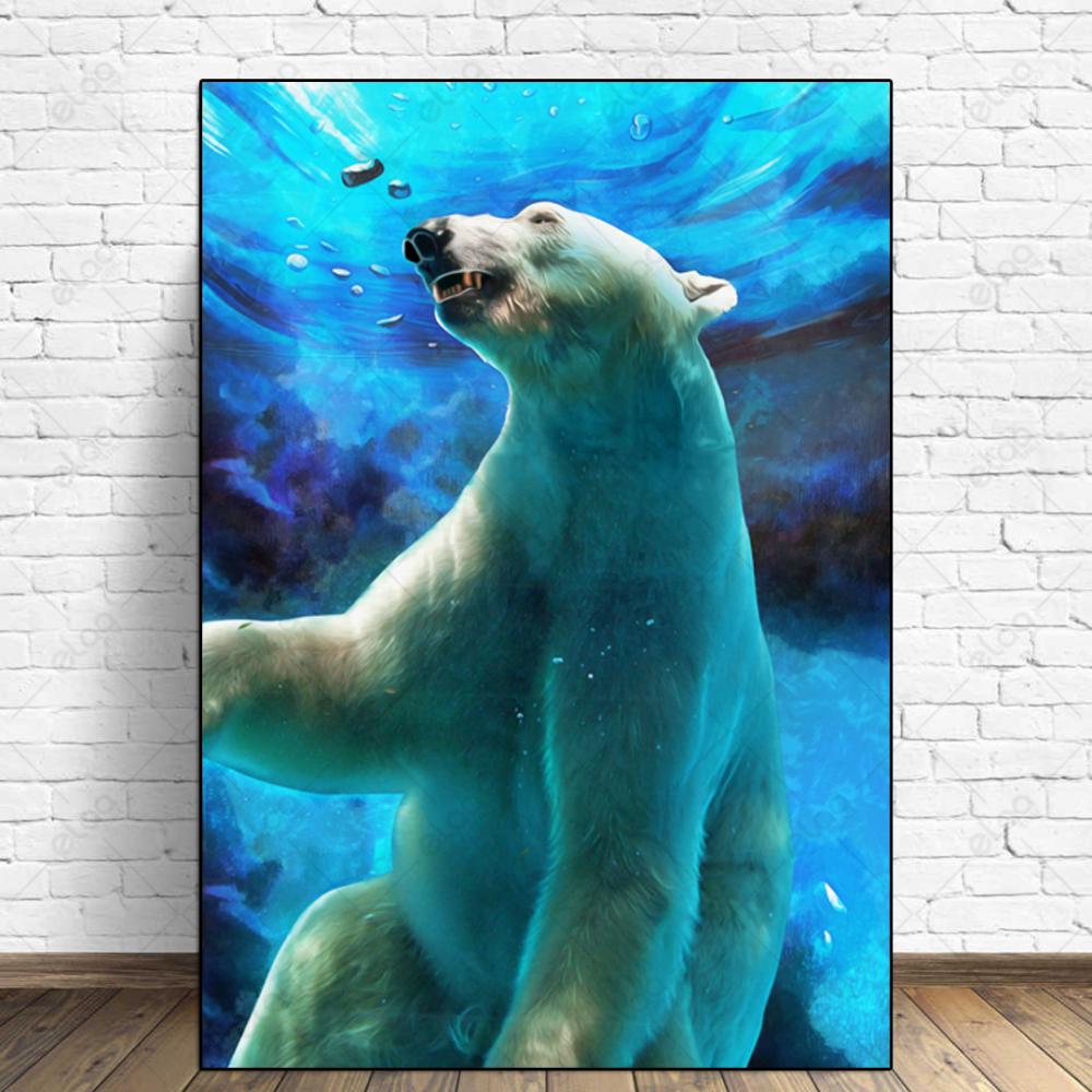 لوحة فن تجريدي لدب ابيض تحت الماء