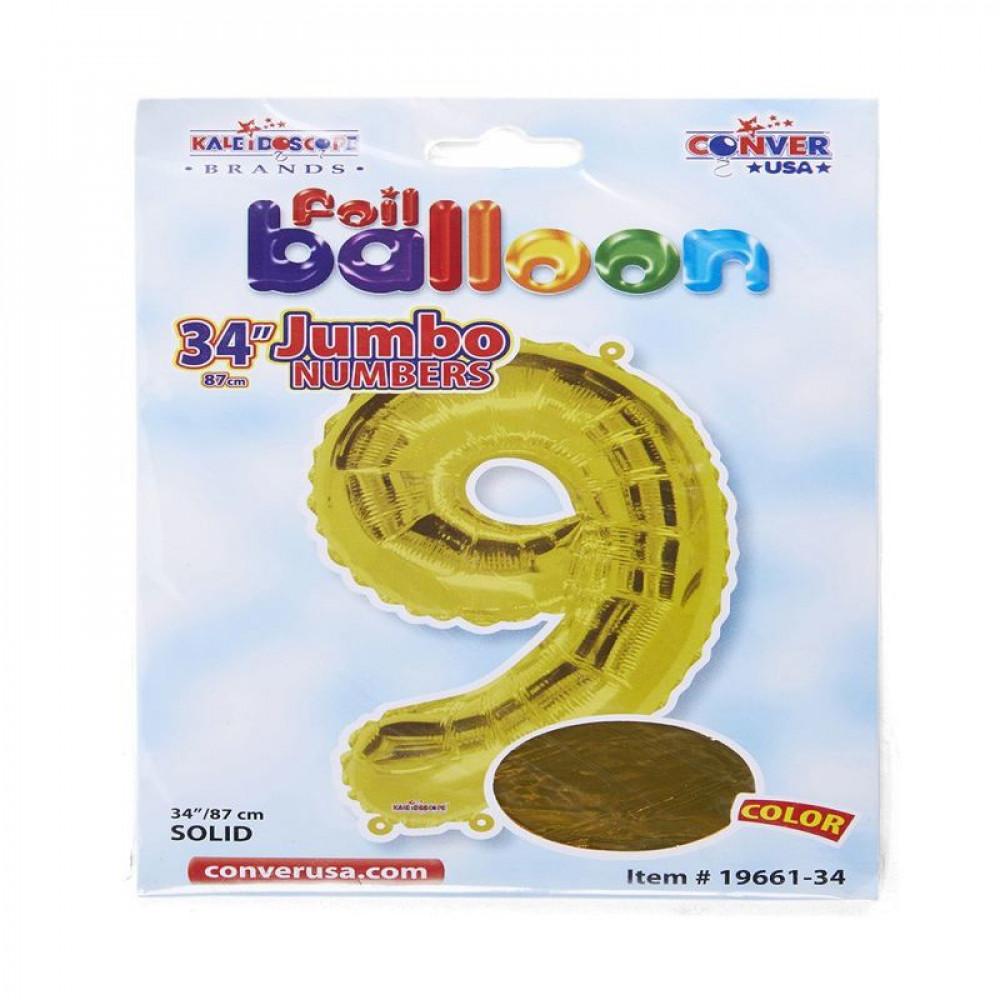 بالون ذهبي, بالون رقم 9, بلونات أرقام, Golden Balloon