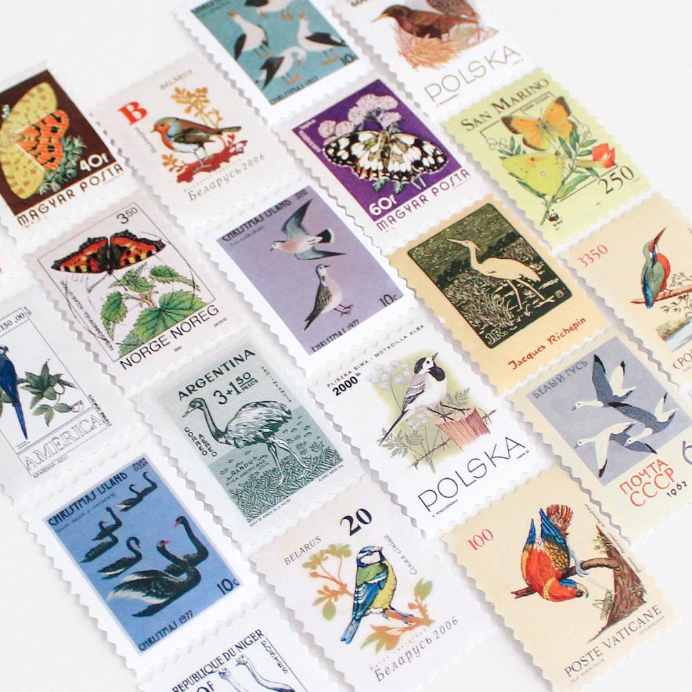 ستيكرات طوابع بريدية طيور طائر أفكار لتغليف الهدايا طابع بريدي للرسائل