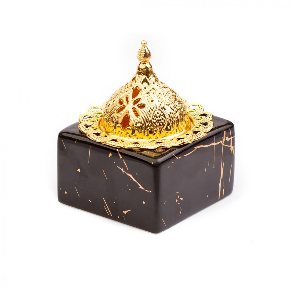 مبخرة سيراميك سوداء بغطاء ذهبي فاخر - قصر الطيب