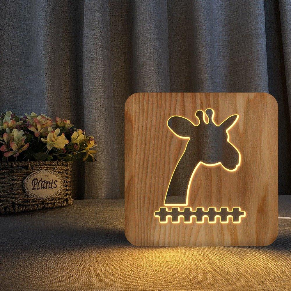 مواسم تحفة فنية خشبية على شكل زرافة ذات تصميم ثلاثي مميز جدا