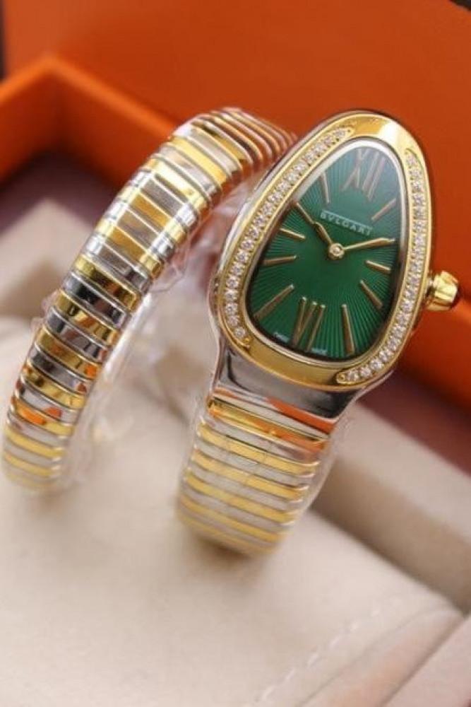 ساعة ماركة بولغري الخضراء نسائية
