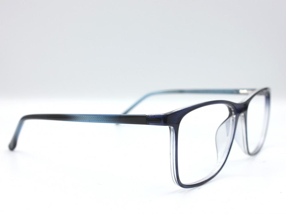 نظارة طبية من ماركة T بتصميم مربع مع عدسات بحماية لون الاطار ازرق و اس