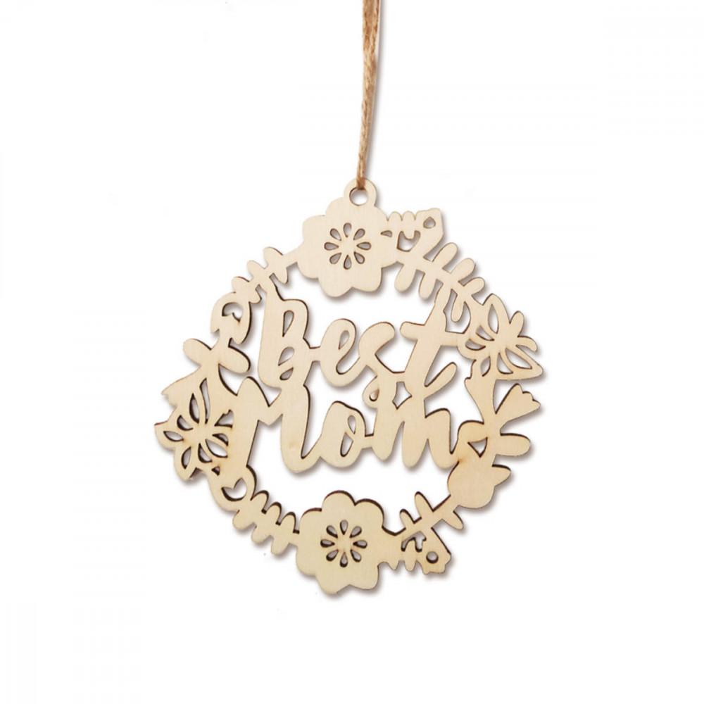 قلادة خشبية علب شكل زهور لعيد الأم