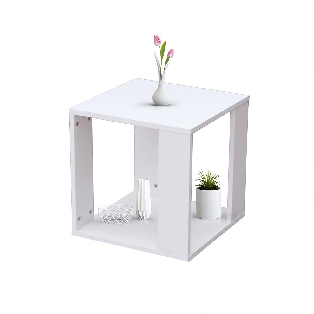 طاولة غرفة الجلوس طاولة جانبية موديل رماس خشب أبيض على شكل صندوق مكعب