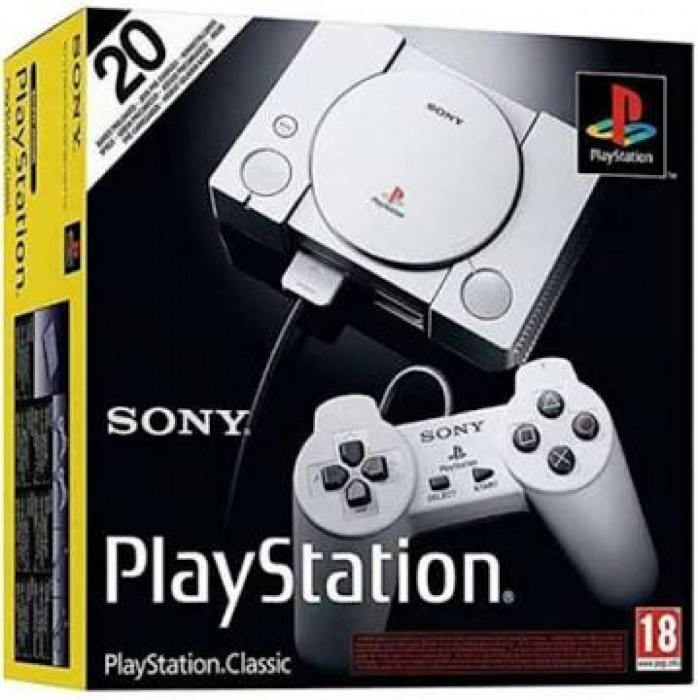جهاز بلايستيشن 1 كلاسيكي مع ذراعي تحكم رمادي PlayStation Classic Grey