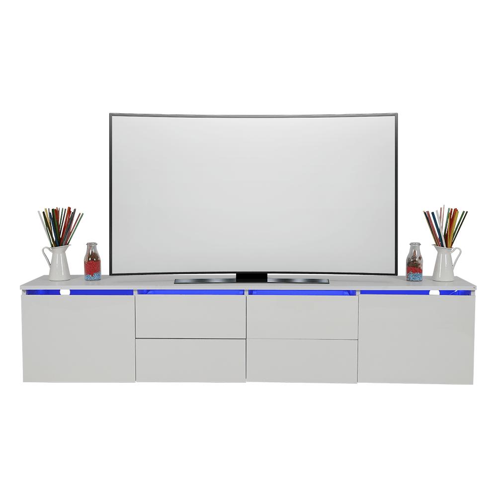 مواسم لديه طاولة تلفاز ماركة NEAT HOME خشبية بيضاء اللون ليد مضيئة