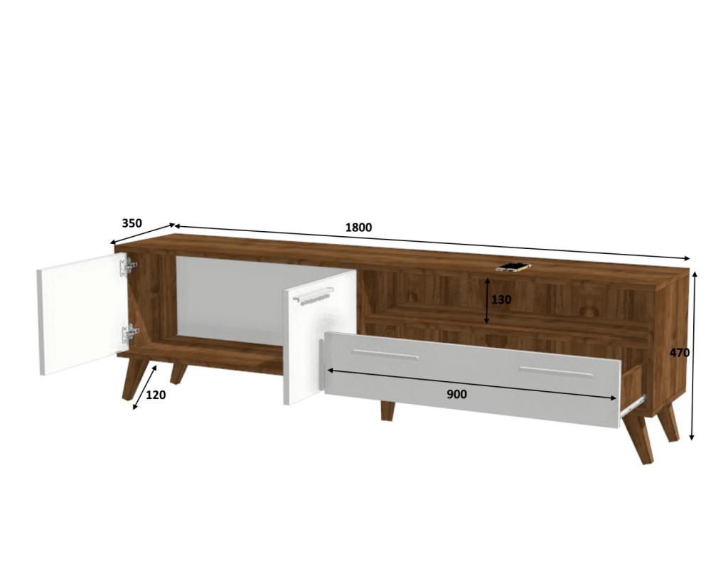 مواسم طاولة تلفاز خشبية بوحدات تخزين القياسات التفصيلية للطاولة