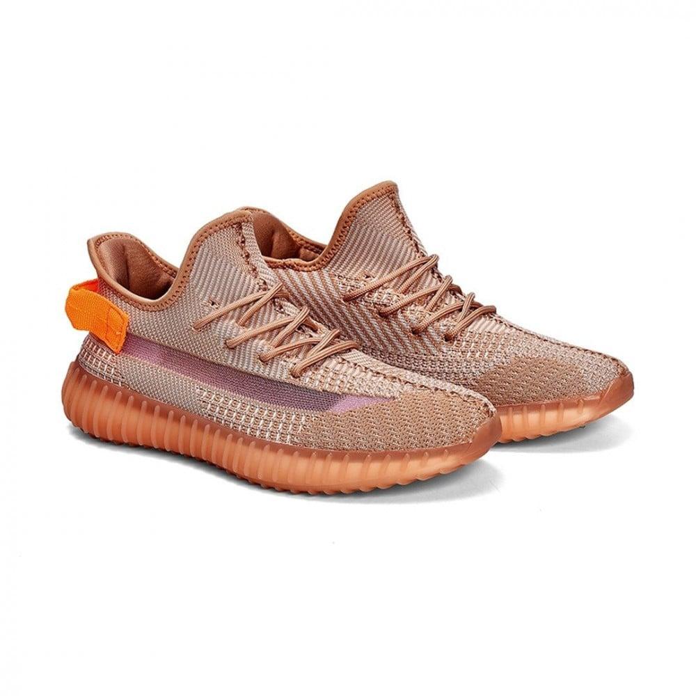 حذاء رياضي عاكس برتقالي مخطط ييزي فيرلي yeezy yezzy اديداس