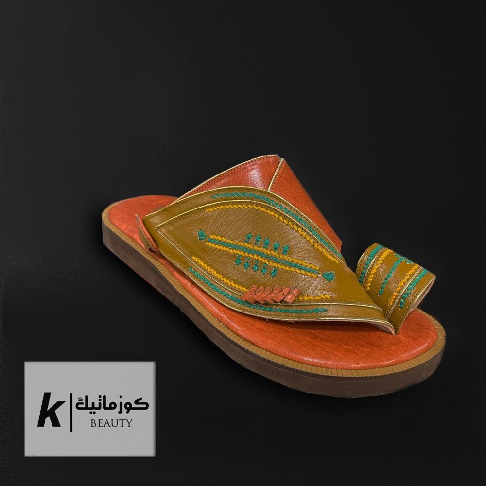 حذاء ايجل شرقي زيتي مطرز  KE 608 كوزماتيك