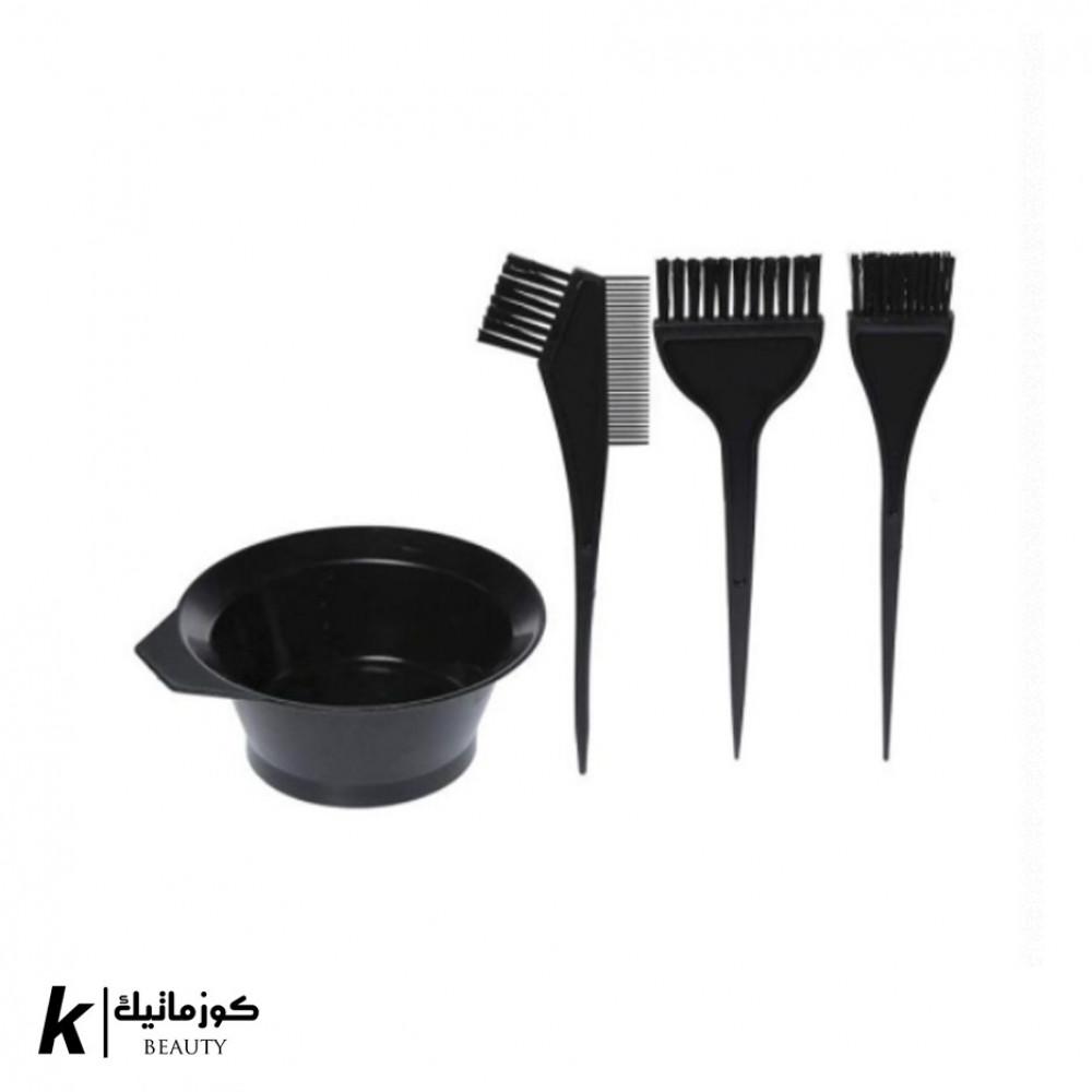 مجموعة فرشاة صبغ الشعر من 4 قطع أسود