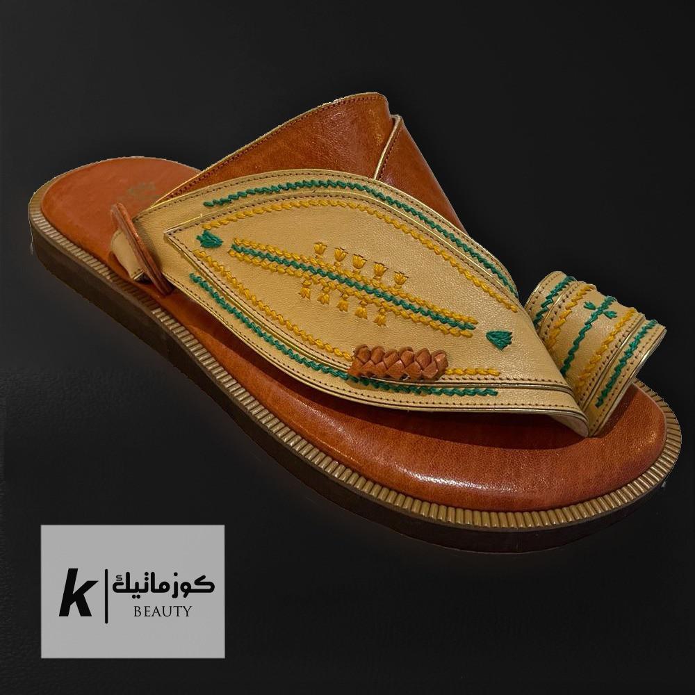حذاء ايجل شرقي بيج مطرز  KE 602