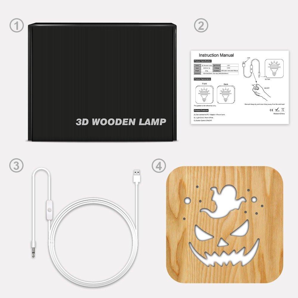 مواسم تحفة شكل اليقطينة مضيئة خشبية توضيح طريقة التركيب وتوصيل الإضاءة