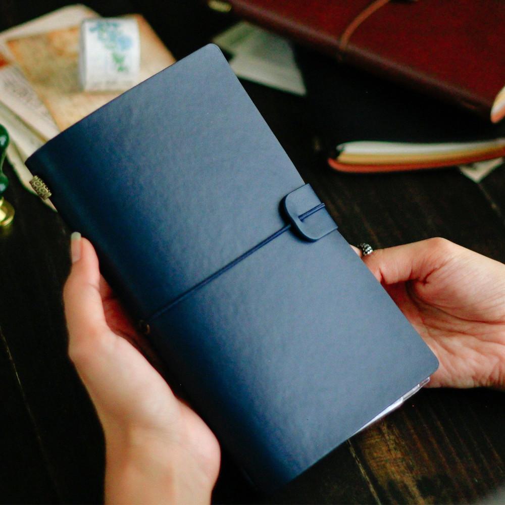 دفتر جلد لون كحلي مذكرة مذكرات دفاتر جلد أجندة جلد متجر قرطاسية هدية