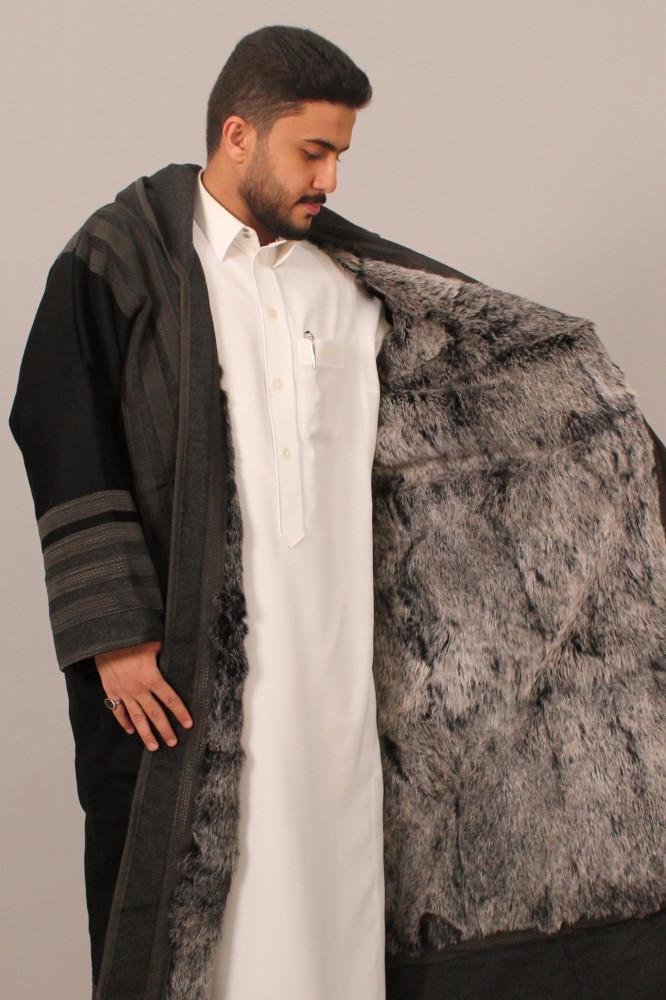 فروة قماش كشميري فرو ارنب طبيعي مطرز بخيوط حرير قبوع