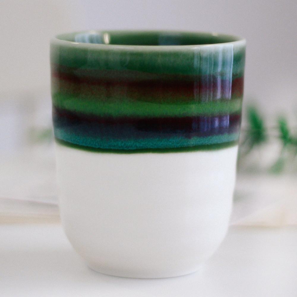 كوب سيراميك خزف كوب قهوة أدوات القهوة المختصة كوب لاتيه أخضر متجر