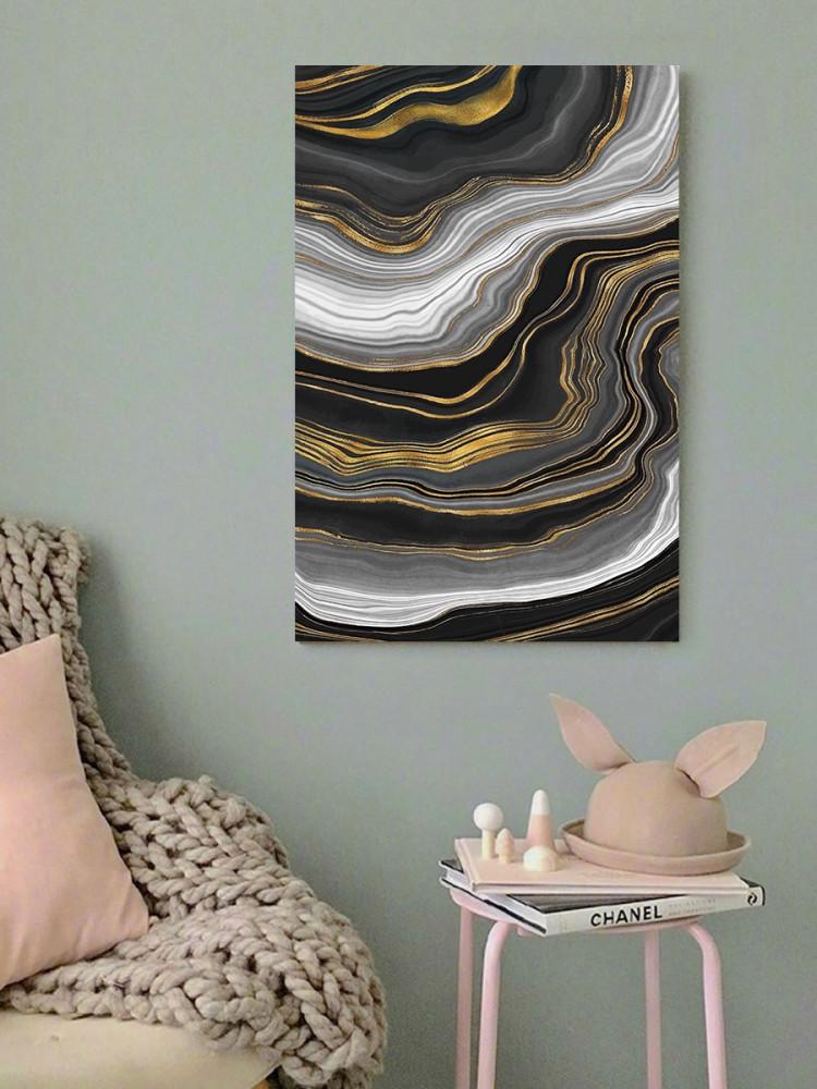 لوحة ألوان مائية أبيض أسود و ذهبي خشب ام دي اف مقاس 40x60 سنتيمتر