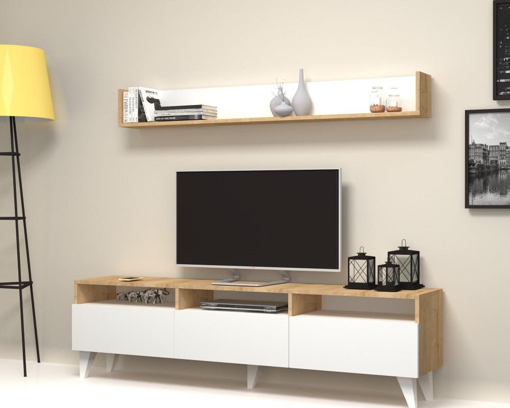 مواسم طاولة تلفاز أنيقه مصممة باللون الخشبي الجذاب مع الأبيض النقي
