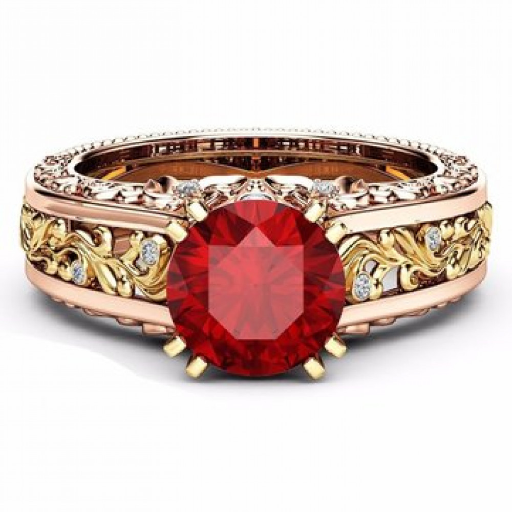 خاتم مزخرف بفص أحمر  لون ذهبي