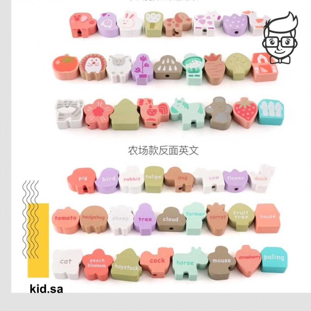 اشكال و اسماء الحيوانات الخشبية الملونة حلوة للاطفال
