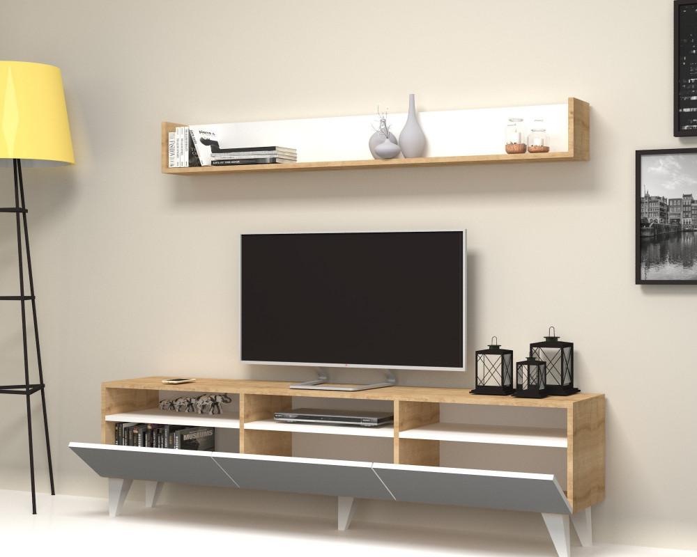 مواسم طاولة تلفاز أنيقة بمساحة للتخزين بتصميم راقي مزينة بالتحف